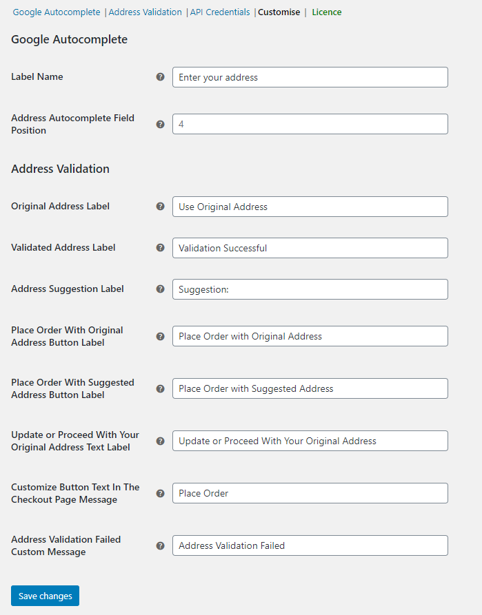 ELEX Address Validation & Google Address Autocomplete Plugin for WooCommerce   Customize Address Label and Button Texts on Checkout Page
