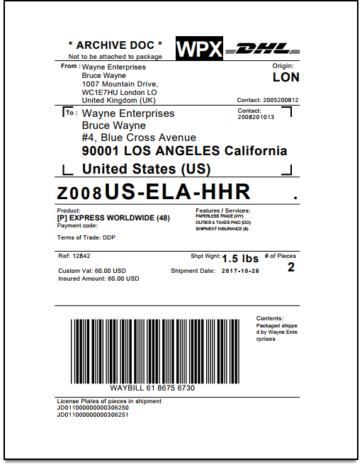 ELEX WooCommerce DHL Shipping Plugin | DHL Archive Air Waybill