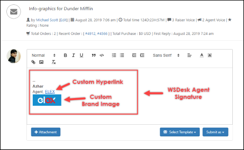 WSDesk - WordPress Helpdesk Plugin | WSDesk Agent Signature