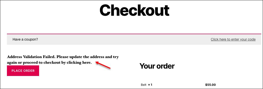 How to set up ELEX Address Validation & Google Address Autocomplete Plugin for WooCommerce? | Address Validation Failed MessageHow to set up ELEX Address Validation & Google Address Autocomplete Plugin for WooCommerce? | Address Validation Failed Message