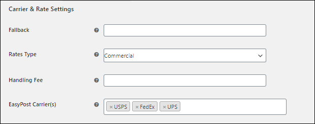 ELEX EasyPost (FedEx, UPS, Canada Post & USPS) Shipping & Label Printing Plugin for WooCommerce | Carrier and Rate Settings