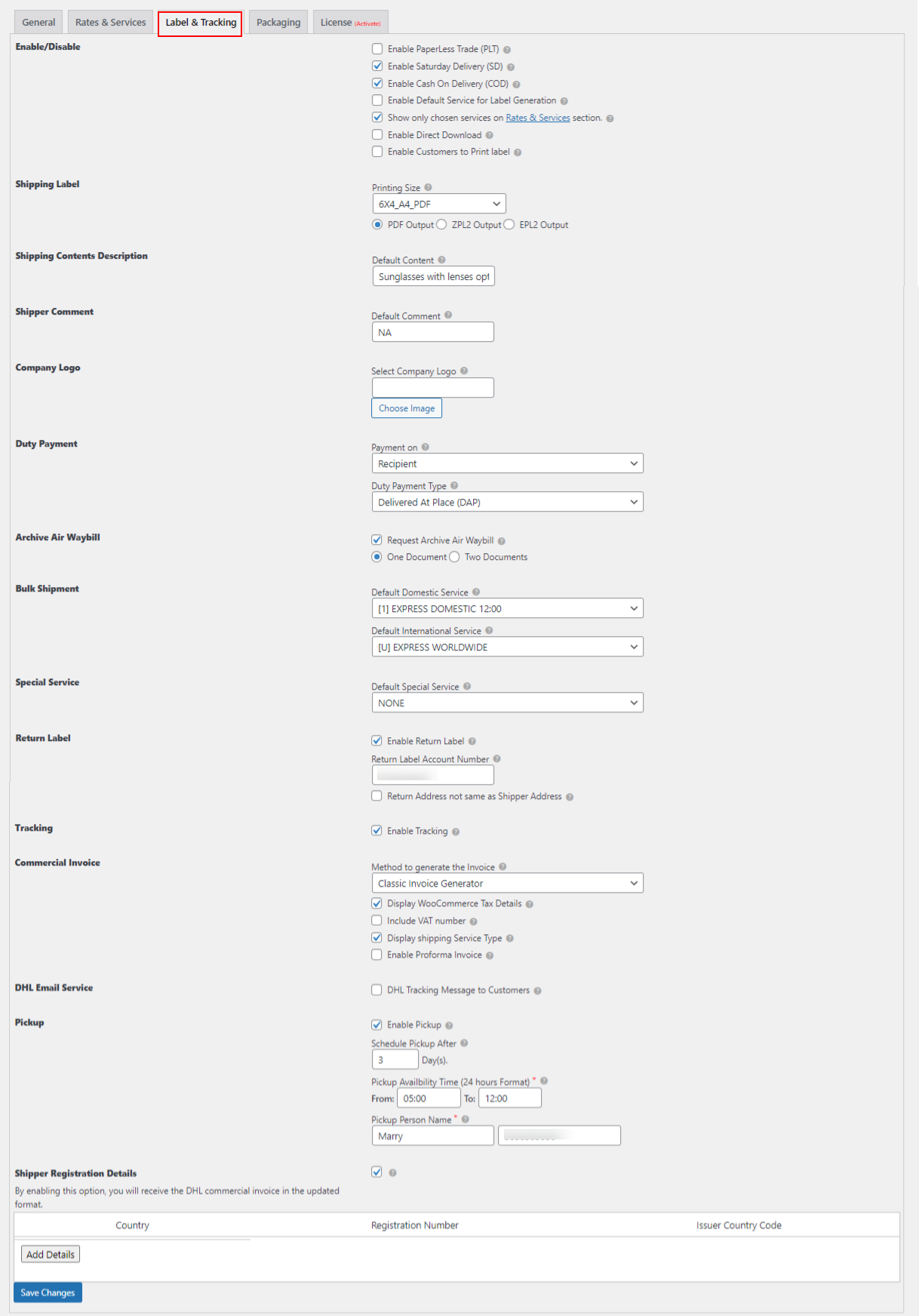 ELEX WooCommerce DHL Express / eCommerce / Paket Shipping Plugin with Print Label   DHL Label and Tracking tab