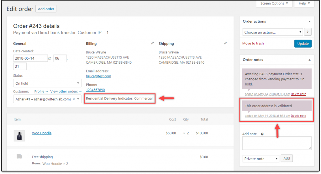 WooCommerce Address Validation | Address Type & Order Note