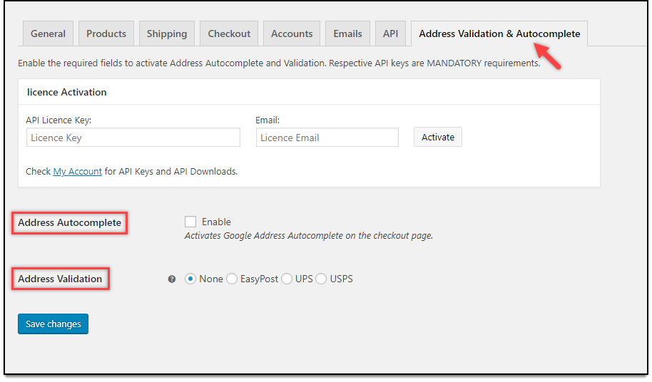 WooCommerce Address Validation & Autocomplete Settings