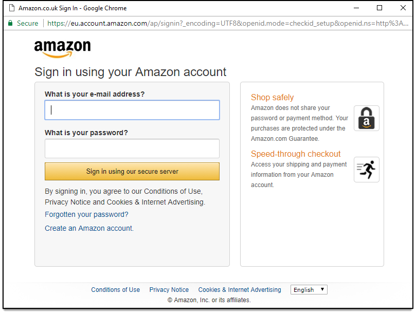 WooCommerce Amazon Payments | Amazon Login Window