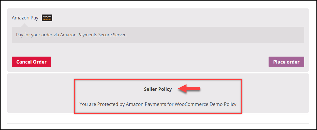 Custom Amazon Pay Seller Policy