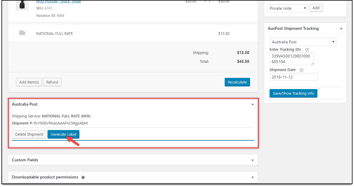 WooCommerce Australia Post Plugin | Generate Label