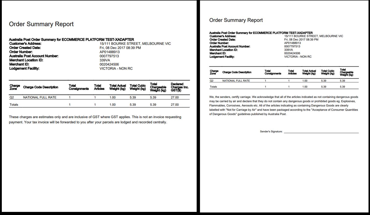 WooCommerce Australia Post Plugin | Order Summary Report