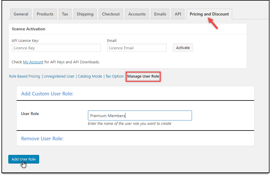 WooCommerce Role Based Pricing - Add User Role settings
