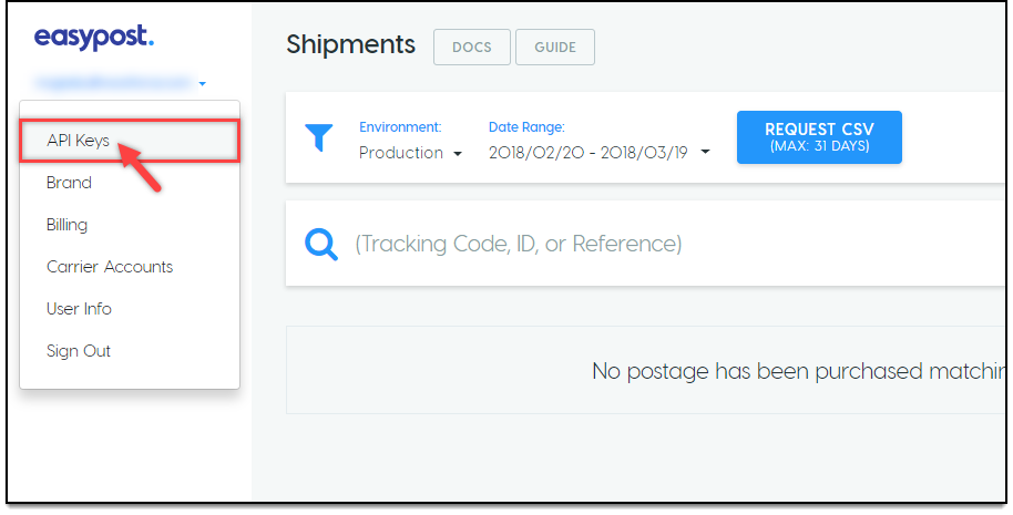 WooCommerce EasyPost Shipping | Selecting API Keys option