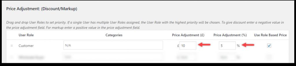 WooCommerce Role Based - Amount and Percentage adjustment