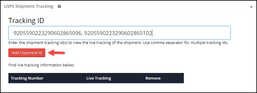 WooCommerce USPS Shipping | Manually providing Shipment tracking IDs