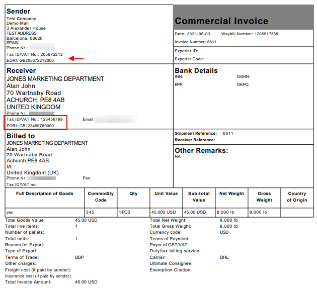 ELEX WooCommerce DHL Express Shipping Plugin with Print Label   EORI and VAT number on Commercial Invoice