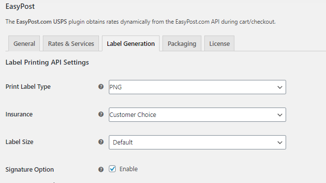 EasyPost Label Generation settings || EasyPost