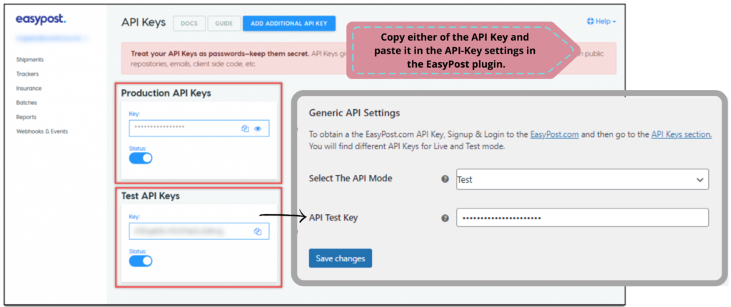 ELEX EasyPost (FedEx, UPS, Canada Post & USPS) Shipping & Label Printing Plugin for WooCommerce | Entering EasyPost API Key on plugin