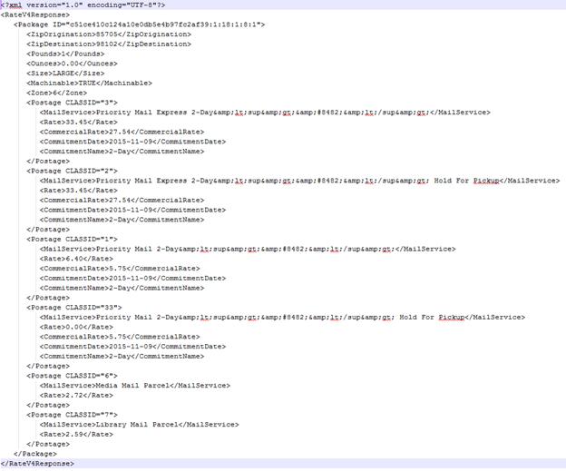 Formatted XML Response