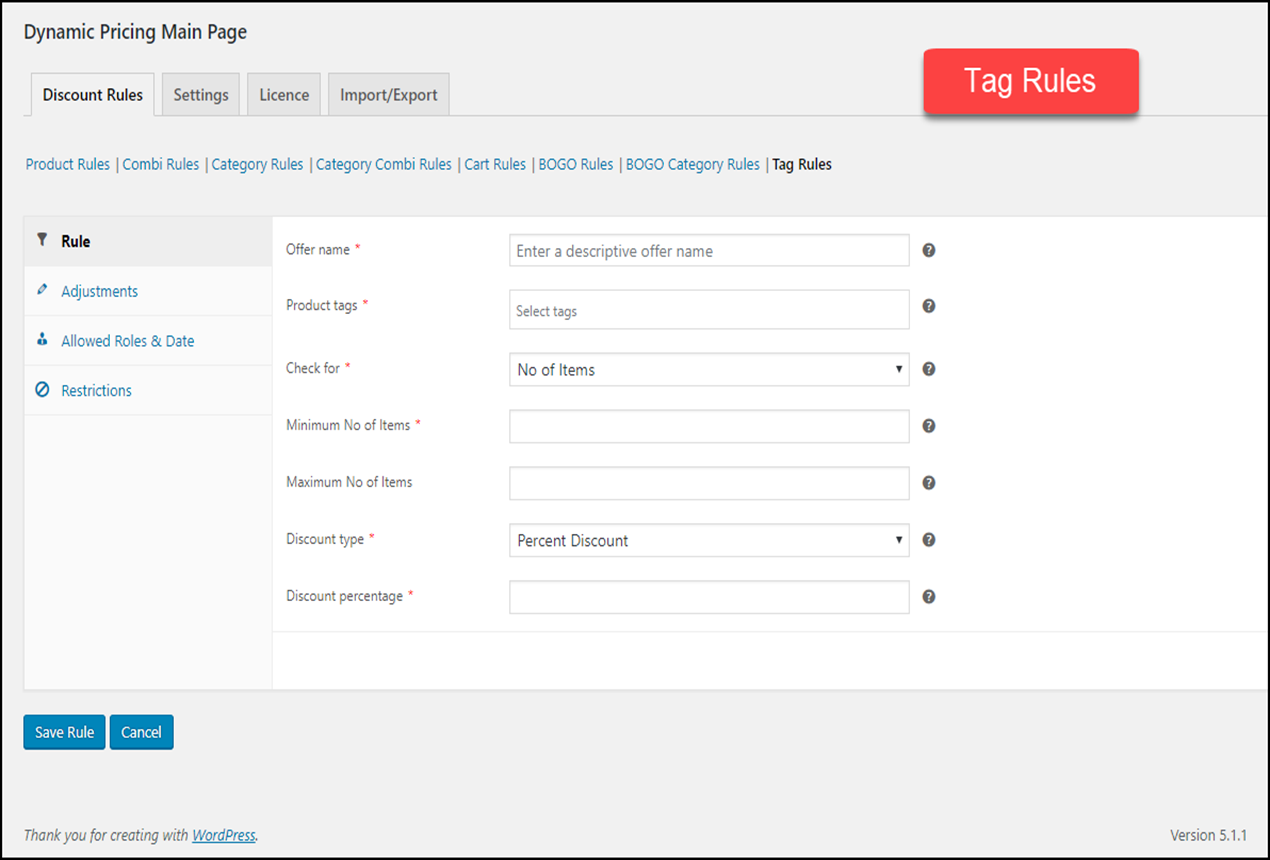 WooCommerce Dynamic Pricing & Discounts | Tag Rule settings