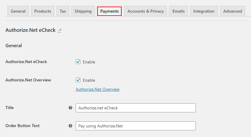 ELEX WooCommerce Authorize.net Plugin | General Settings of Authorize.Net eCheck