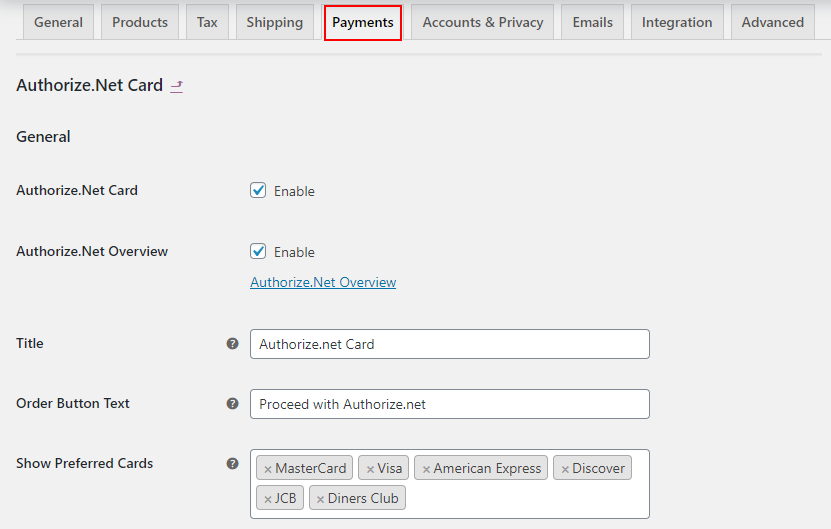 ELEX WooCommerce Authorize.net Plugin | General Settings on Authorize.Net
