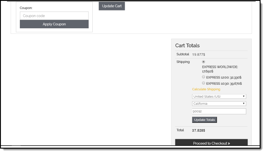 DHL service on Cart page