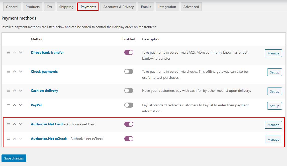 ELEX WooCommerce Authorize.net Plugin | Payment Options