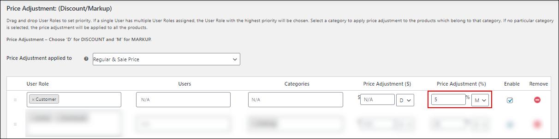 ELEX WooCommerce Catalog Mode, Wholesale & Role Based Pricing | Percentage adjustment of 5%