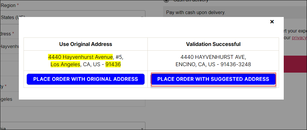 How to set up ELEX Address Validation & Google Address Autocomplete Plugin for WooCommerce? | Place Order With Suggested Address Label