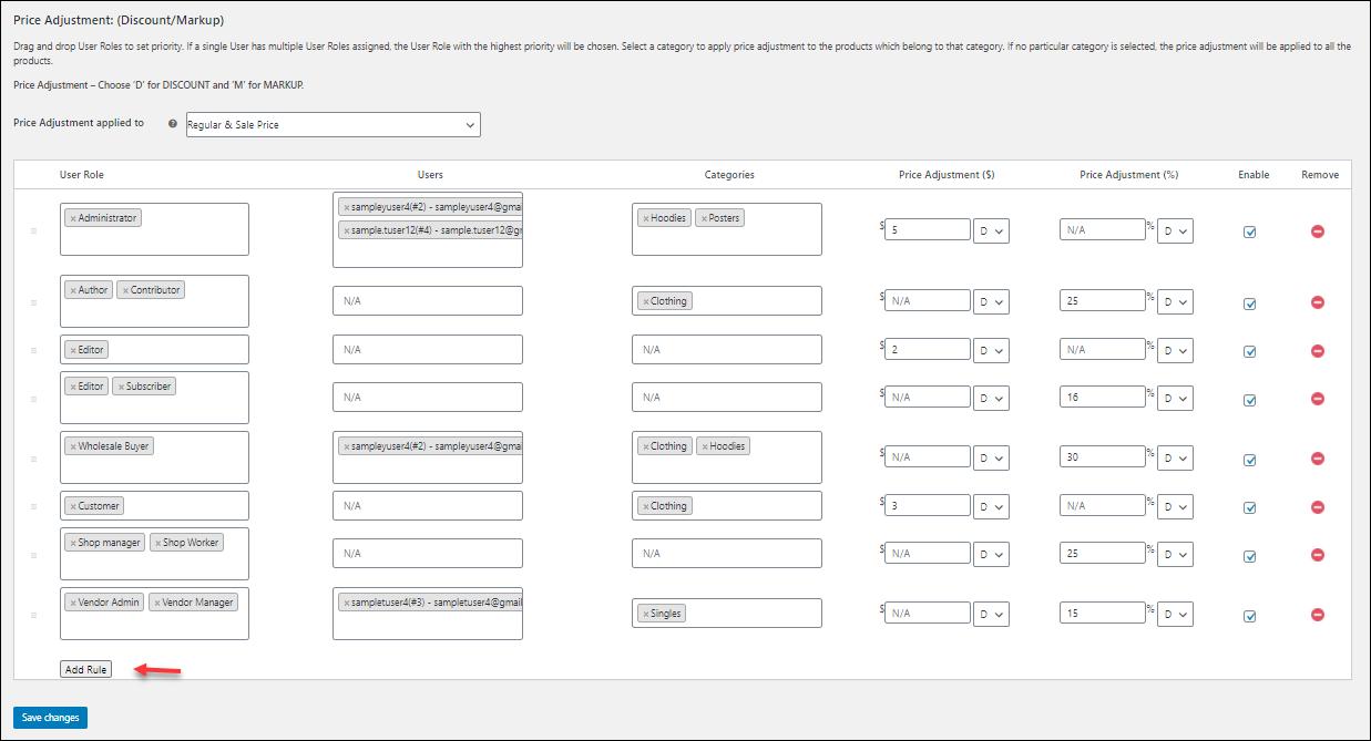 ELEX WooCommerce Catalog Mode, Wholesale & Role Based Pricing | Price Adjustment table