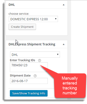 Manual Tracking Number
