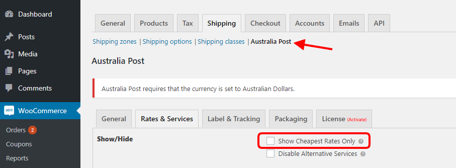 WooCommerce Australia Post
