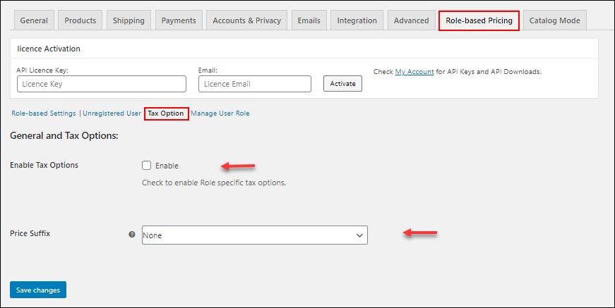 ELEX WooCommerce Catalog Mode, Wholesale & Role Based Pricing | Tax Option settings