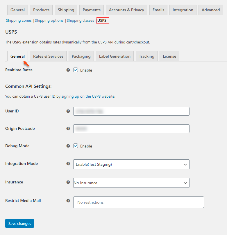 ELEX WooCommerce USPS Shipping Plugin with Shipment Tracking & Print Label | USPS General Settings