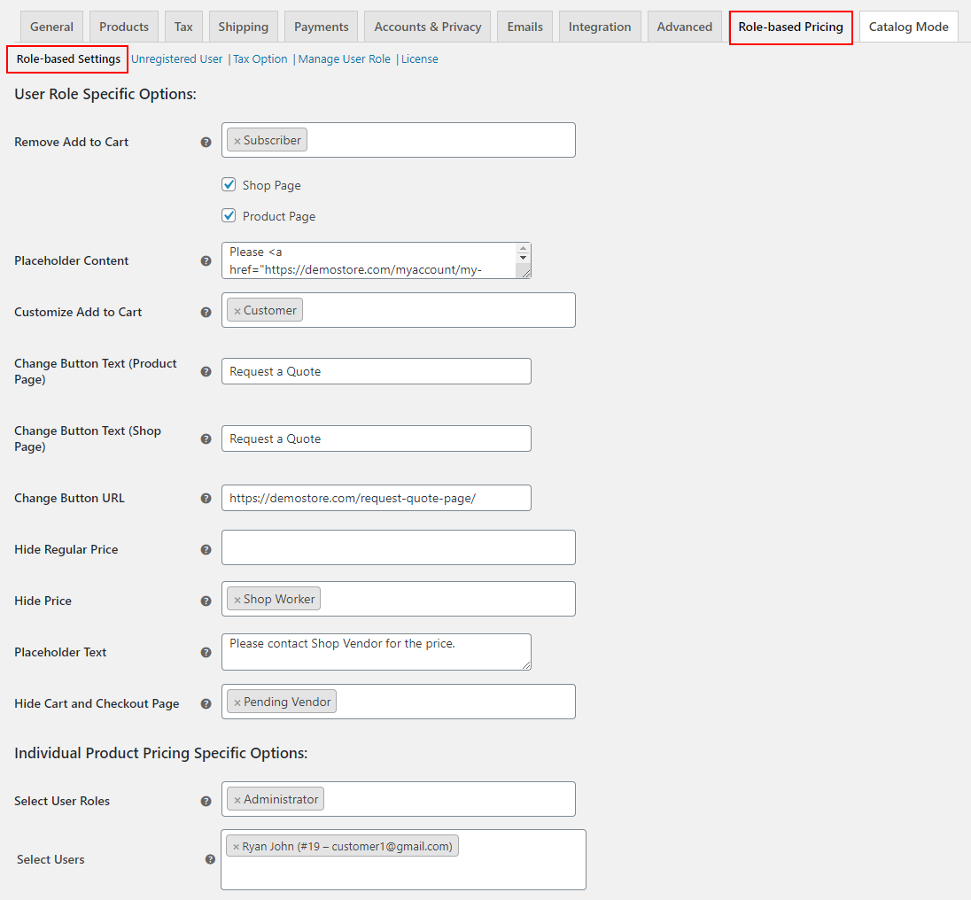 ELEX WooCommerce Catalog Mode, Wholesale & Role Based Pricing   User Role Specific Options