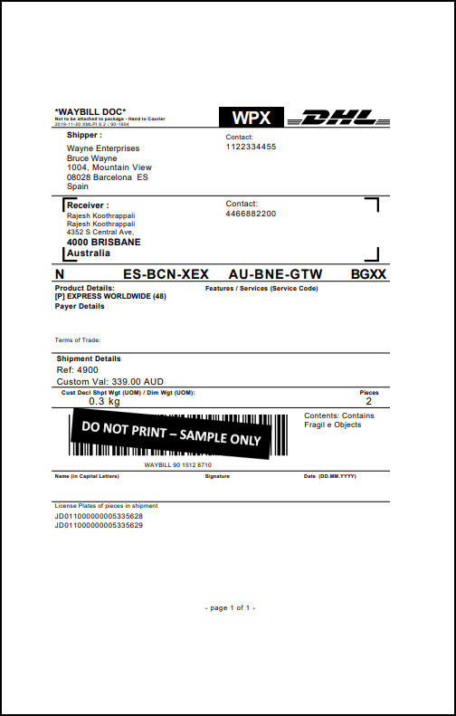WooCommerce DHL Express | Sample DHL Express Archive Air Waybill