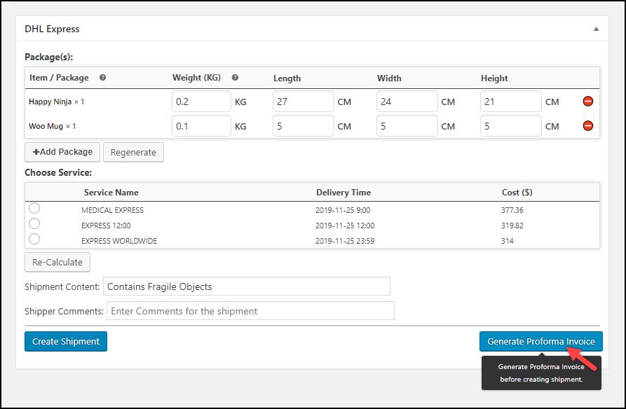 WooCommerce DHL Express Shipping | Generating Proforma Invoice