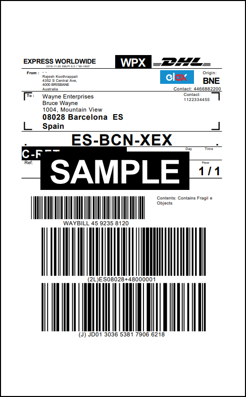 WooCommerce DHL Express | Sample DHL Express Return Label