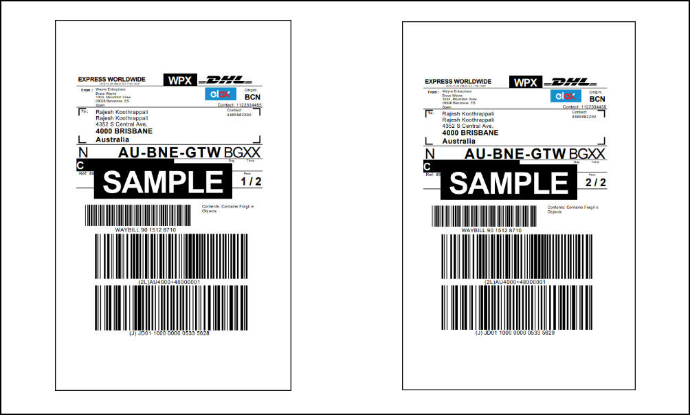 WooCommerce DHL Express | Sample DHL Express Shipping Labels