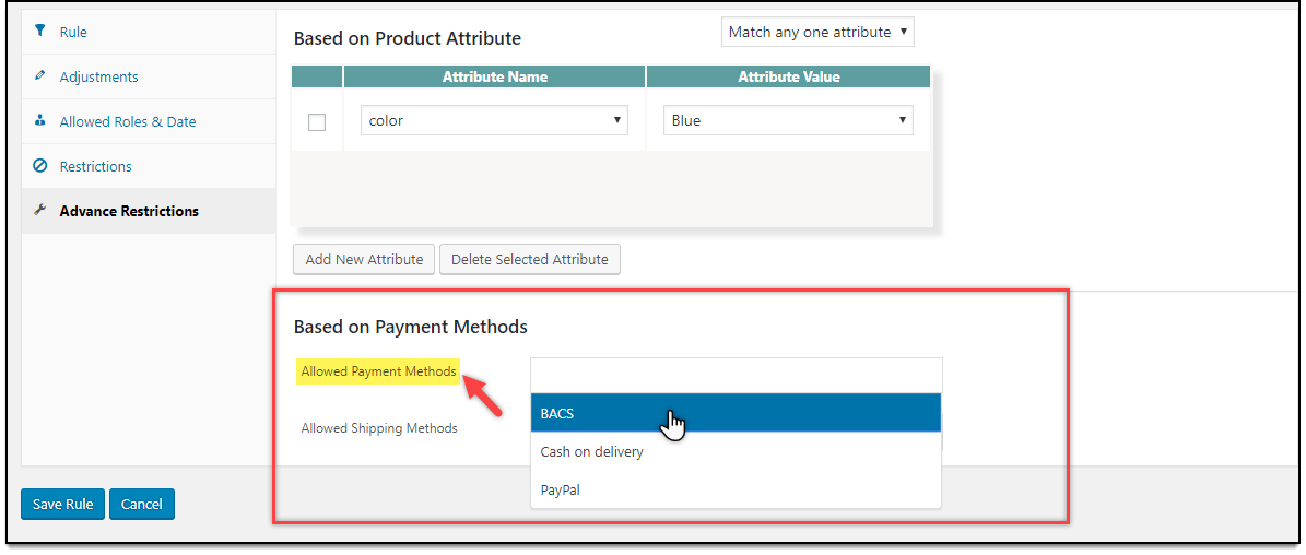 WooCommerce Dynamic Pricing & Discounts | Allowed Payment Methods