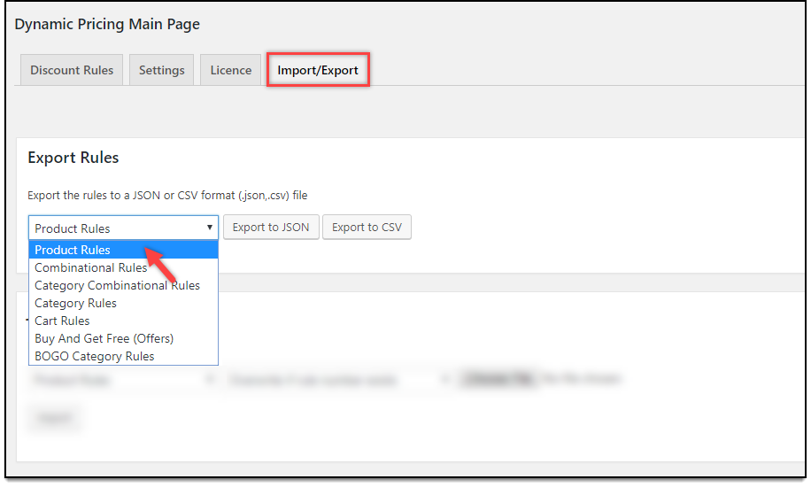WooCommerce Dynamic Pricing & Discounts | Export Rules settings