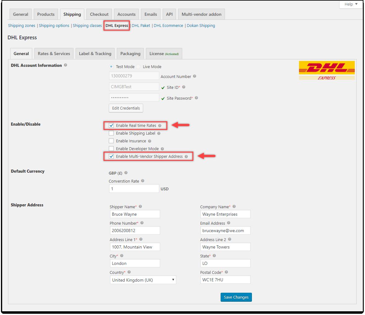 WooCommerce Multi-Vendor Add-On   DHL Express settings