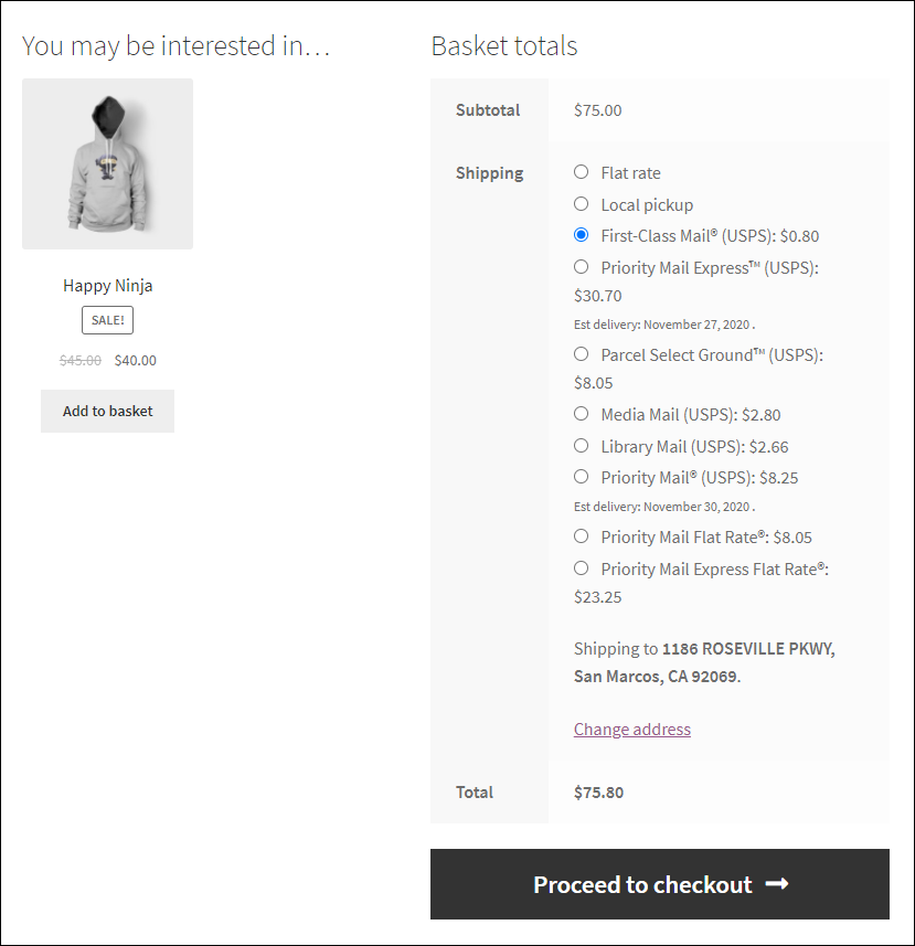 ELEX WooCommerce USPS Shipping Plugin with Shipment Tracking & Print Label | choosing a shipping option from customer side