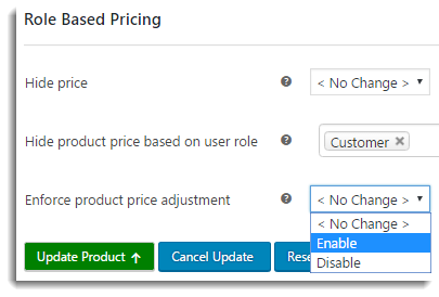 Enable individual product price adjustment