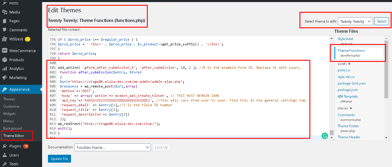 Integrate Gravity Forms with WSDesk | Define code in the theme function