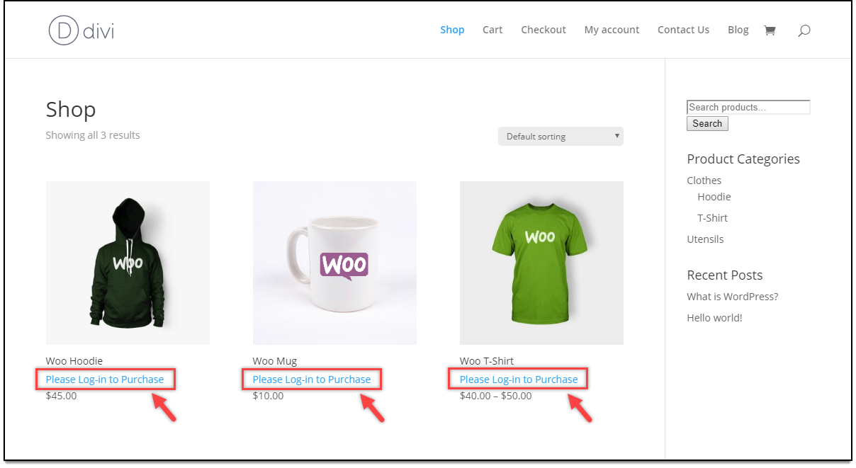 Divi - WooCommerce Catalog Mode | Add to Cart removed for Unregistered Users