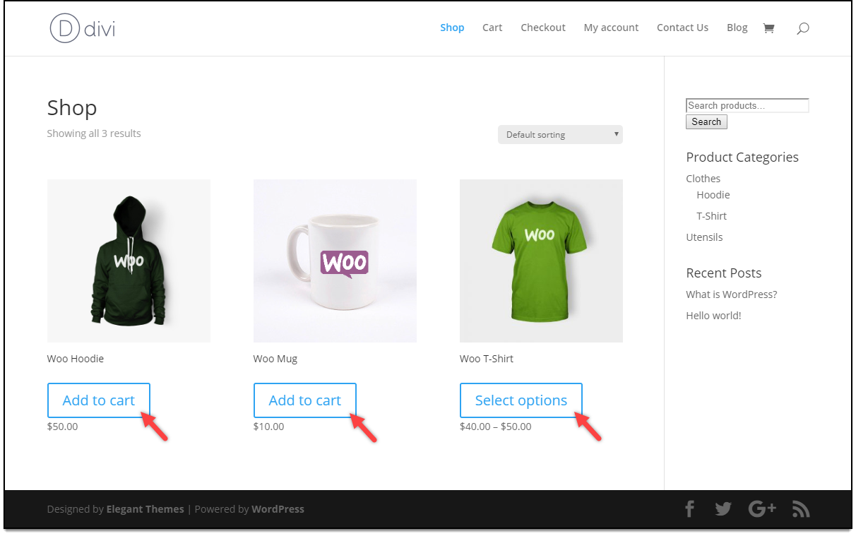 Divi - WooCommerce Catalog Mode | Divi Customized Shop Page