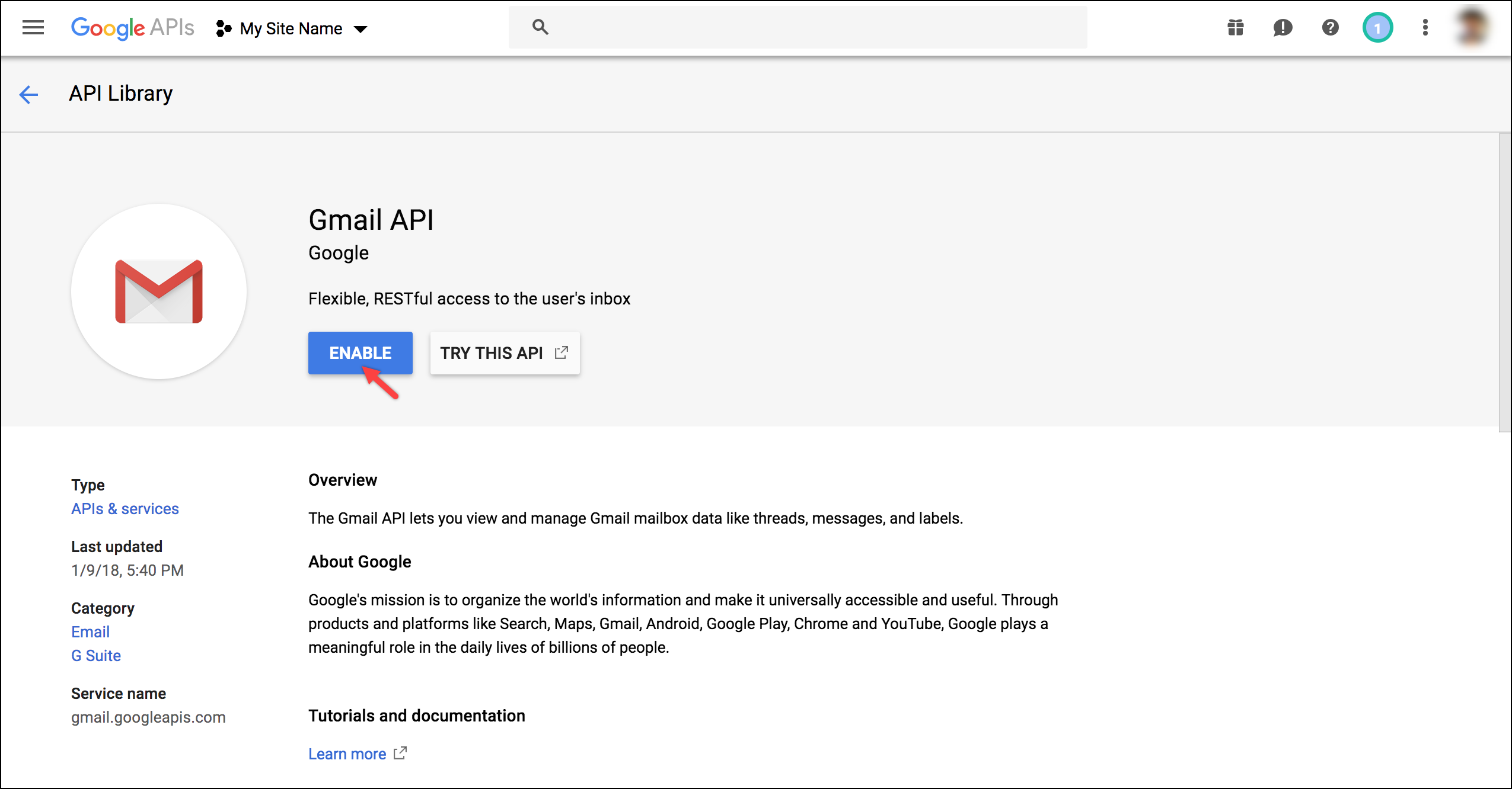 WSDesk Google OAuth | Enabling Gmail API