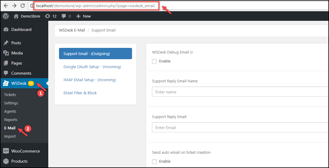 WSDesk Google OAuth | WSDesk Email settings path