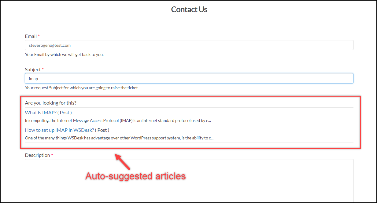 WordPress Helpdesk Plugin - WSDesk | Auto-suggested article for Customers