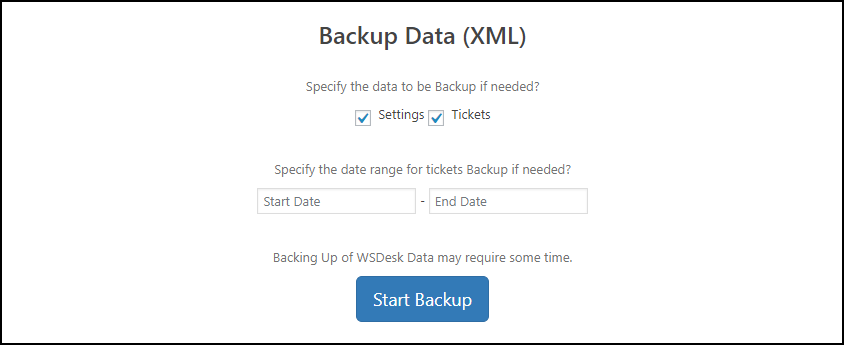 WSDesk | Backup Data settings