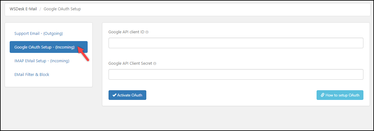 WordPress Helpdesk Plugin - WSDesk | Google OAuth settings